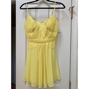 BCBGMaxAzria Katalina Lace-Blocked Yellow Dress